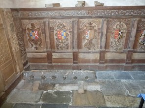 Lanteglos by Fowey: Mohun pews from Boconnoc recycled as panelling